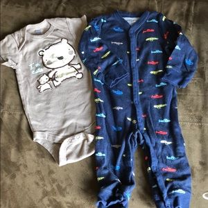 Gerber onesie and carter's one piece with buttons